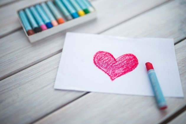 red heart crayon